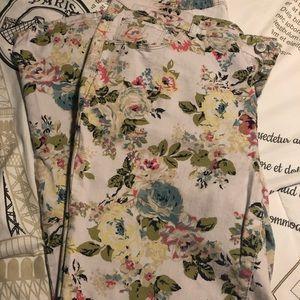 Flower print jeans